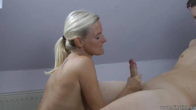 Older woman performs oral sex on step son and rides him cowgirl