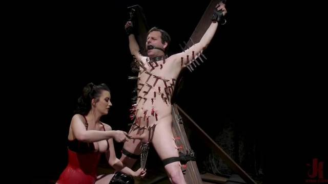 Femdom giving her male sex slave the most extreme pain