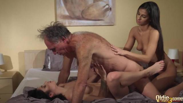 Old Young Porn Teens Share old Man and Ride his Wrinkled Cock