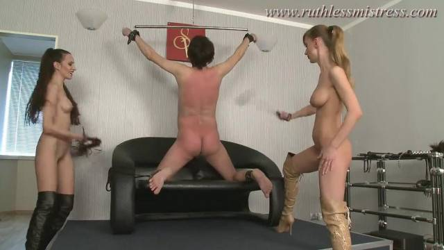 Two Femdom Dommes Severely Punish and Assfuck a Guy