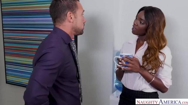 Kinky secretary Ana Foxxx fucks her boss hard cock