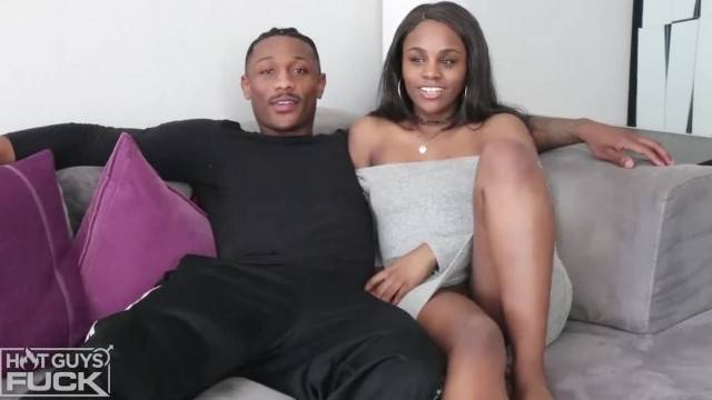 Sexy black couple fuck on the couch and cum together