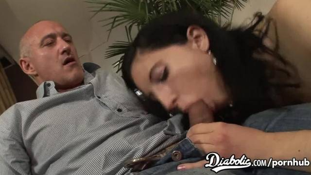 Naughty brunette sucks hard cock and gets facial