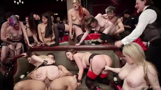Hardcore BDSM orgy with lots of pussy discipline