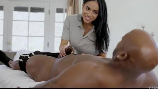 Hot masseuse Victoria June eats cum after BBC ride