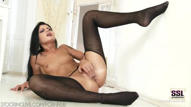Wild Brunette Sofia like Loves her Pussy and Legs in Pantyhose