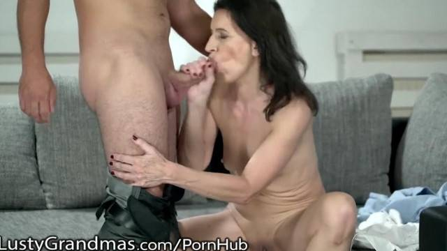 Hungry Granny Eats Young Cock and Gets Her Cooch Fucked