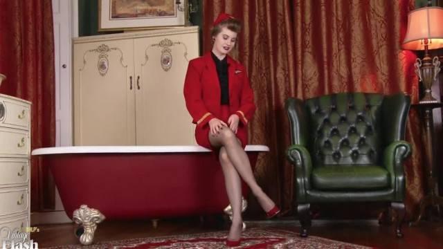 Air hostess fantasy with natural beauty Brook Logan