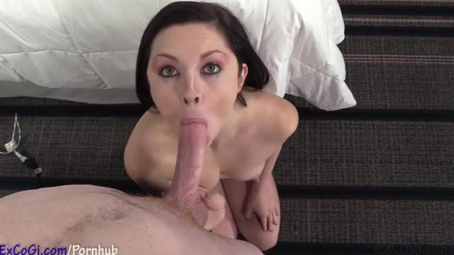 Brunette hottie blows and fucks cock during porn casting