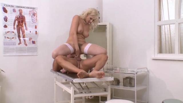 Slutty horny nurse gets anal check up