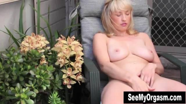 Horny Blonde Anneka Masturbating Outdoors