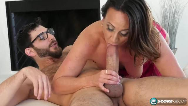 Cougar MILF rides young hard cock and gets cum in her ass