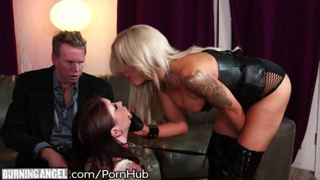 Pet slave trained in kinky threesome