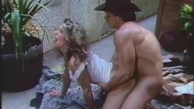 Cowboy stud rides cougar blonde MILF and cums on her ass