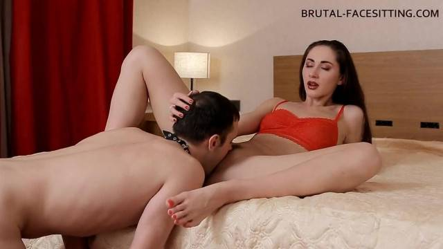Pet slave worships and licks mistress pussy before tasting her pee