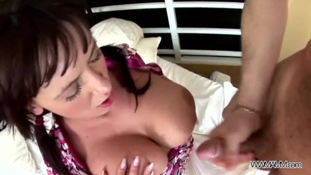 Busty Dominating Teen Brunette sucks Big Cock and gets Cum on Tits