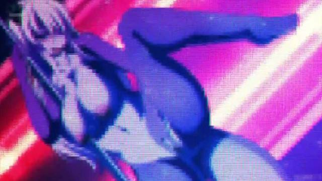 Close up with busty anime dancer riding big cock