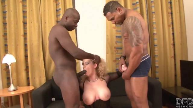 Horny blonde MILF double penetrated by big black cocks
