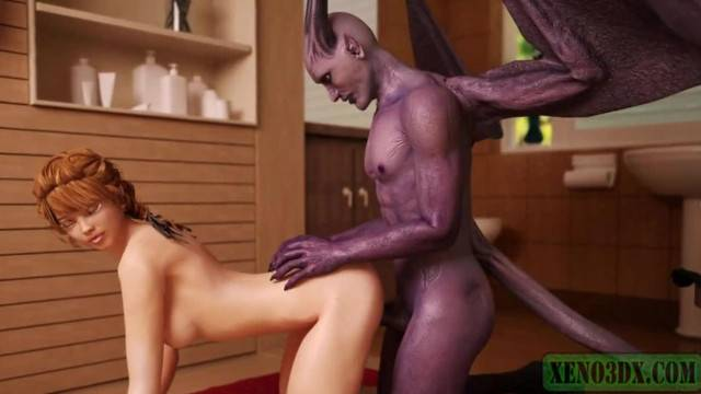 Sexy anime babe fucked in all position by horny demon