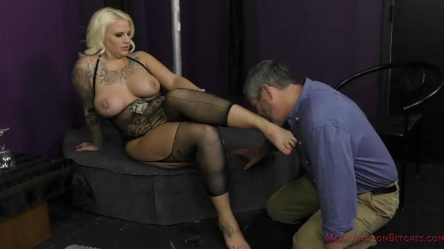 Bossy busty blonde stripper turns client into her bitch