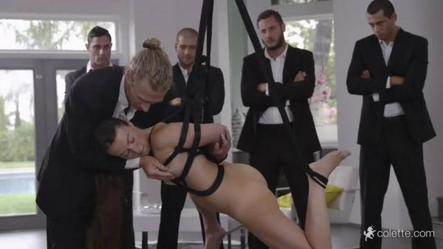 Hot Tiffany Doll gets gangbanged while suspended in bondage