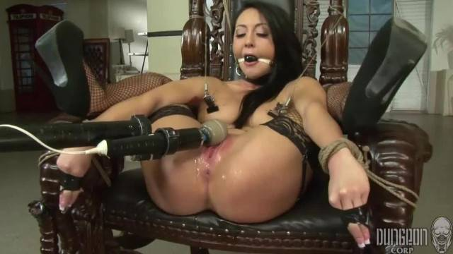 Intense pussy toying and whipping for tied up Sabrina Banks