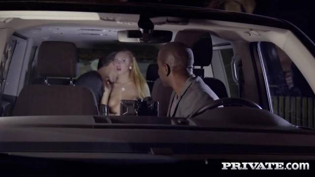 Pervy couple makes cab driver watch them fucking in the car