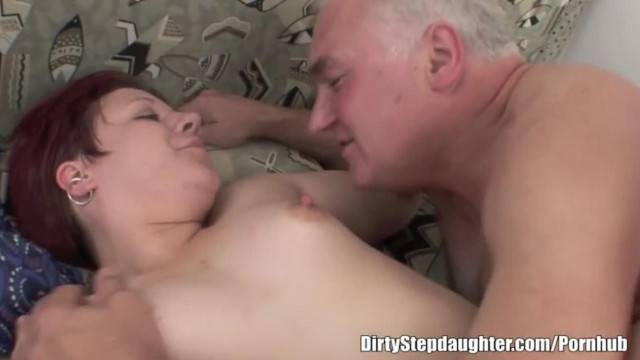 Amateur curvy babe sucks and rides her step dad old cock
