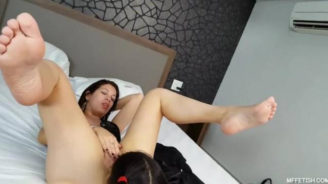Cute toy girl licks clean mistress ass and pussy
