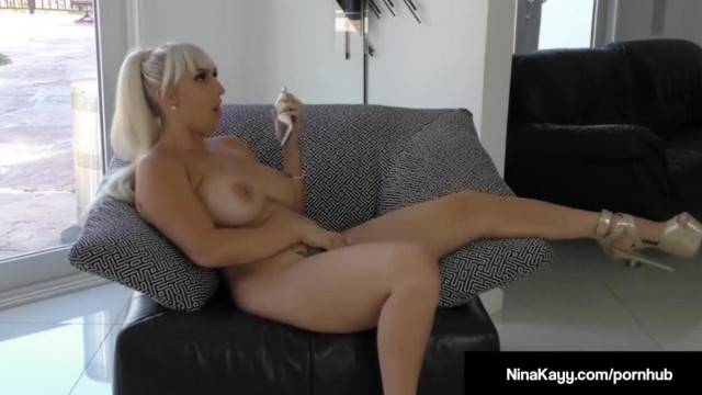 Naughty Nina Kayy Bangs her Cunt with a Dildo while Sexting
