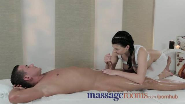 Cute masseuse Lucy Li rubs fat cock and makes guy cum hard