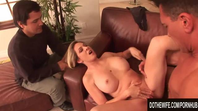 Cuckold hubby watches his whore wife being anally fucked and creampied