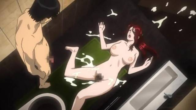 Anime ginger MILF filled with cum by horny son