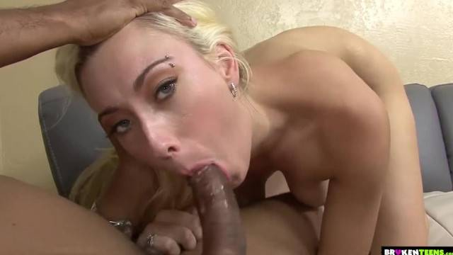 Blonde hottie stuffs all her holes with big black cock
