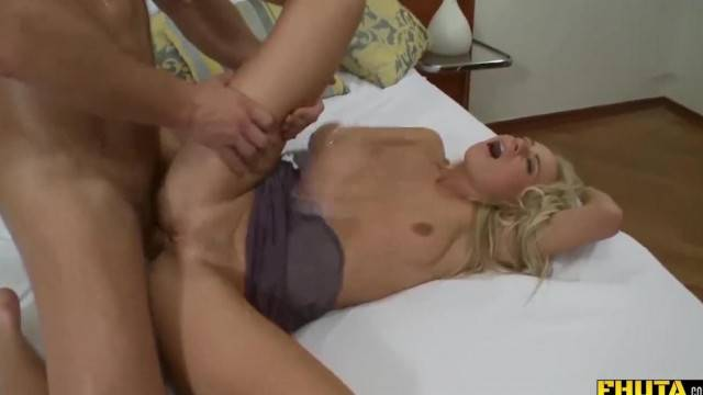 Horny babe takes cock in all her holes and gets creamed