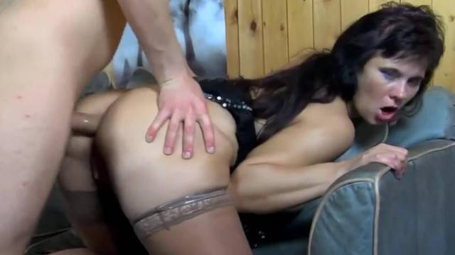 Horny mature lady makes young guy cum on her round ass