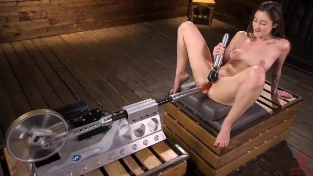BDSM lover Kenzi Ryans visits master dungeon and plays with his fuck machines