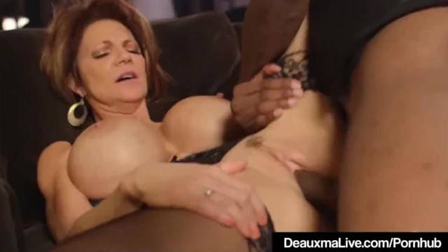 Mature busty slut Deauxma stuffs her fanny with young BBC