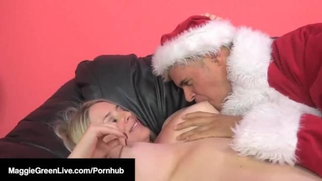 Big titty MILF Maggie Green fucks Santa and his helper