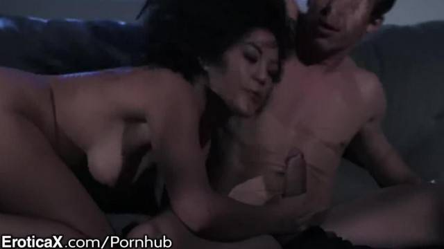Scared petite asian jumps on officer and works his fat cock