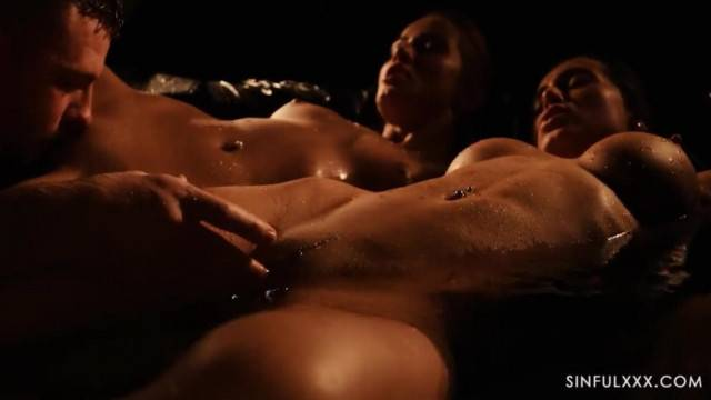 Hot models share photograph in passionate threesome