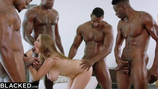 Hungry cumslut blonde takes 7 big black cocks in her tiny holes