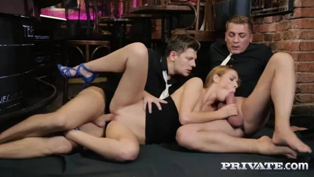 Naughty babe Alexis Crystal plays with two hard cocks in the bar