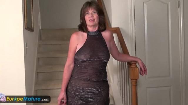 Horny Mature Jade in Evening Dress Masturbates with Toys