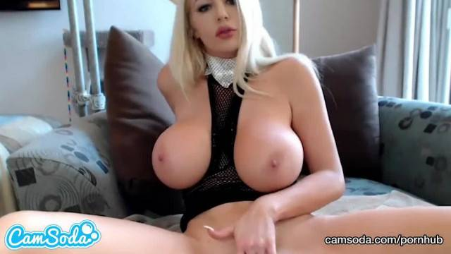 Horny blonde with huge tits shoves hair brush in her wet twat