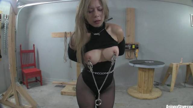 Busty sex slave trained with nipple clamps and spanking in BDSM punishment