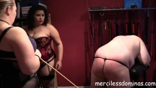 Double domme humiliation and spanking session with BBW mistresses