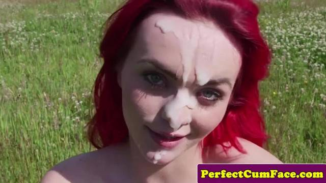 Big titty redhead milks guy outdoor and gets a nice facial cumshot