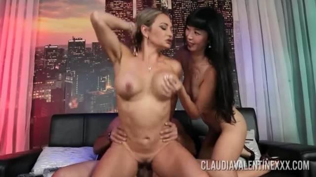 Busty MILF Claudia Valentine fucks cute couple in threesome